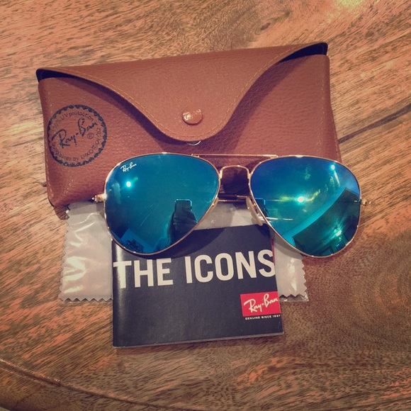 ray ban aviators gold mirror lenses